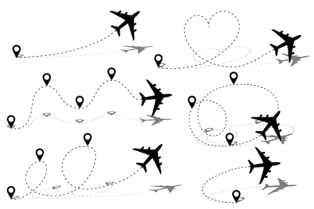 Flugzeuglinienpfadroute mit startpunkt und strichlinienspur. Premium Vektoren