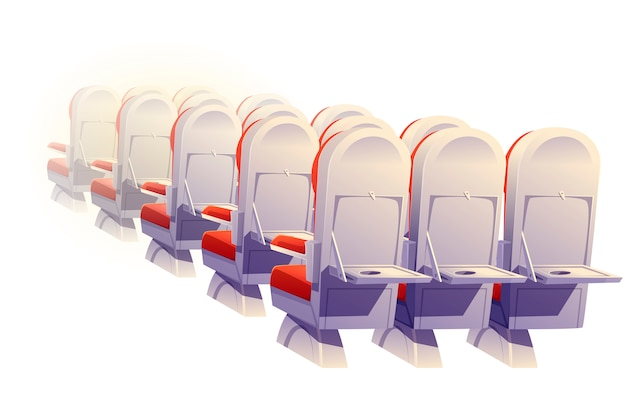 Flugzeugsitze rückansicht, economy class stühle Kostenlosen Vektoren