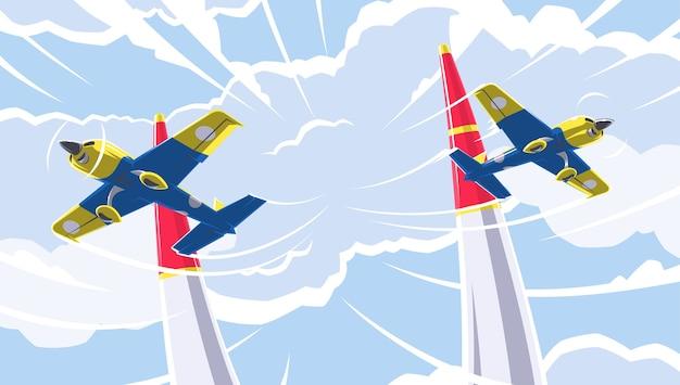 Flugzeugsport. eine der arten von flugsportarten. sportwettkämpfe auf einsitzigen sport- und trainingsflugzeugen im kunstflug. luftrennen im luftverkehr. Premium Vektoren