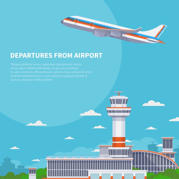Flugzeugstart auf rollbahn im internationalen flughafen. tourismus- und flugreisevektorkonzept. flugzeugabflug von der illustration des internationalen terminals Premium Vektoren
