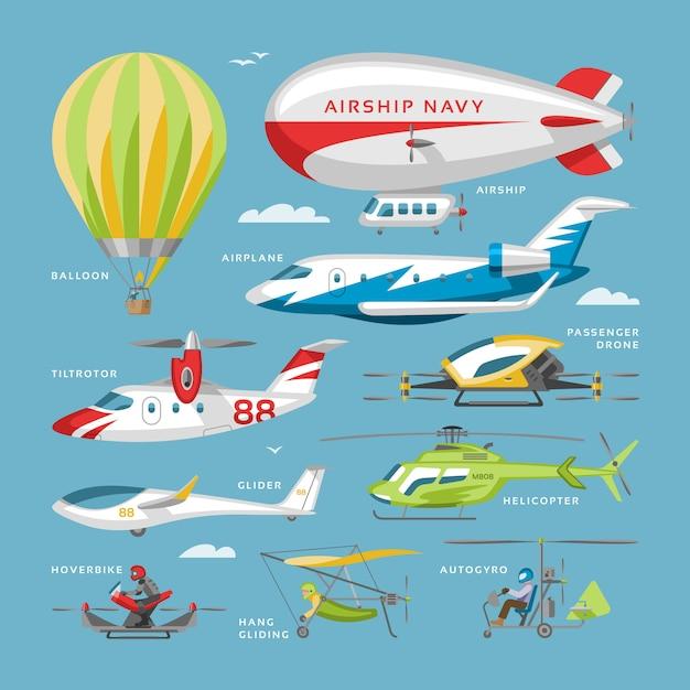 Flugzeugvektorflugzeug oder flugzeug- und jetflugtransport und hubschrauber in der luftillustrationsflugzeugsatz des flugzeugs oder des flugzeugs und der luftfrachterfracht lokalisiert auf hintergrund Premium Vektoren