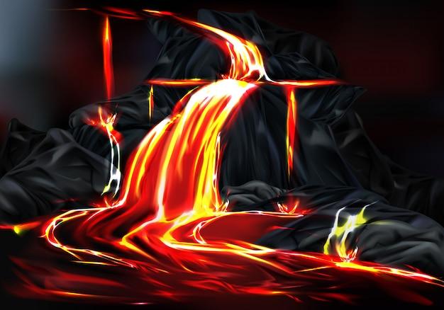 Fluss und brunnen der heißen lava, die während des vulkanausbruchs aus gebirgsfelsen fließen Kostenlosen Vektoren