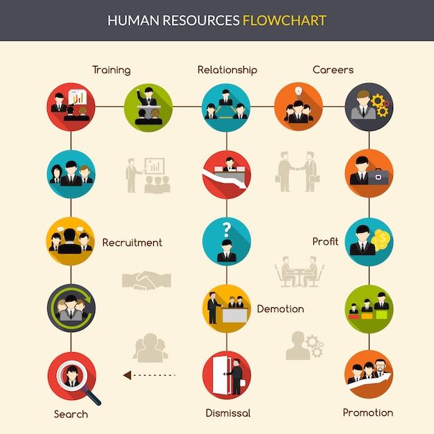 Flussdiagramm der humanressourcen Kostenlosen Vektoren
