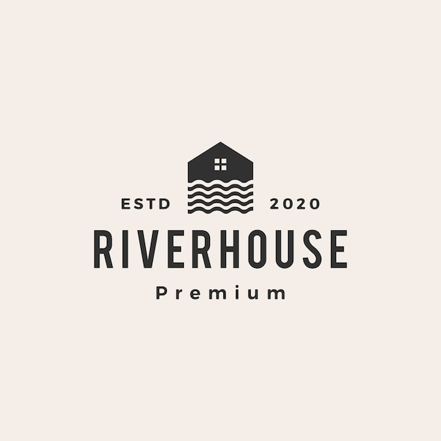 Flusshaus-weinleselogoikonenillustration Premium Vektoren