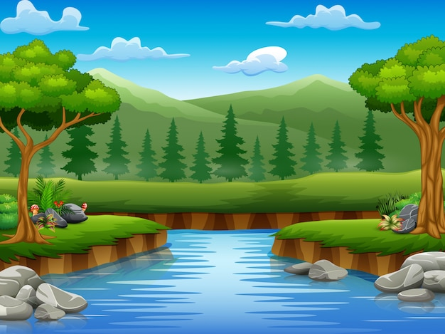 Flusskarikaturen in der mittleren schönen naturlandschaft Premium Vektoren