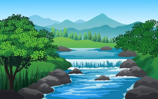 Flusslandschaft im grünen wald mit felsen Premium Vektoren