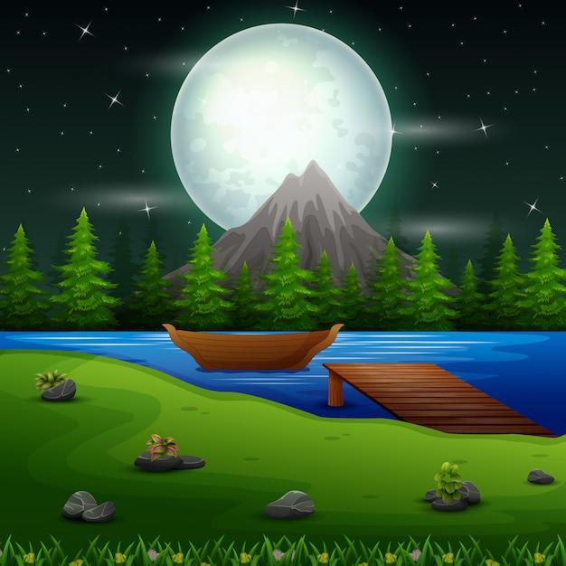Flussszene in der vollmondnacht mit boot und brücke Premium Vektoren