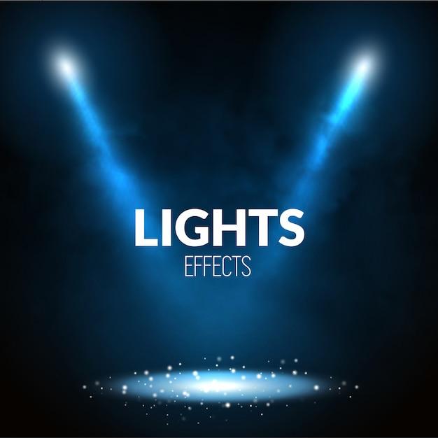 Flutlichtstrahler beleuchten die szene mit leuchtenden partikeln Premium Vektoren