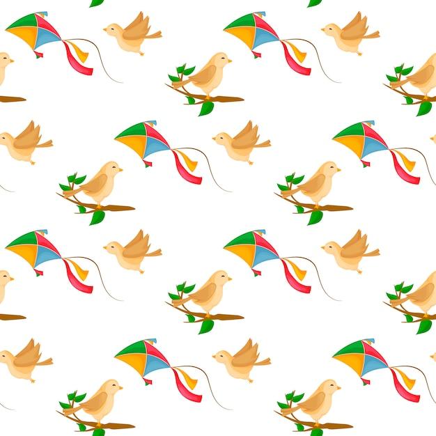 Fly kite nahtlose muster mit wind und niedlichen vögeln auf ast. Premium Vektoren