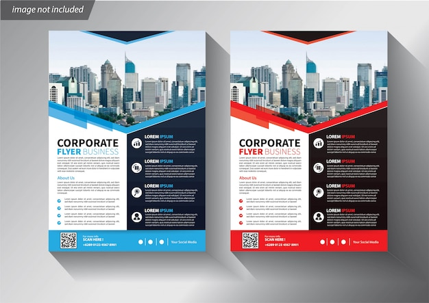 Flyer business template mit geometrischen formen Premium Vektoren
