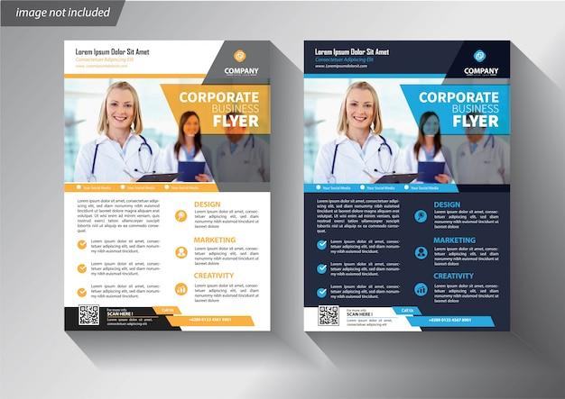 Flyer business-vorlage mit modernen corporate design Premium Vektoren
