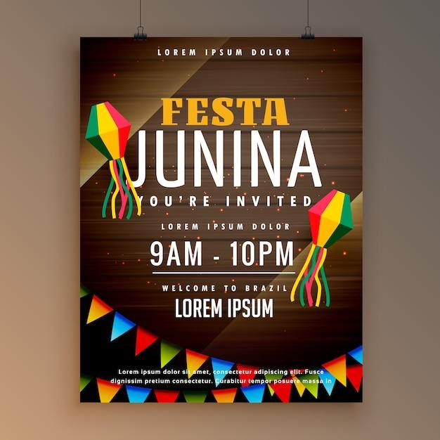 Flyer design für festa juinina festliche jahreszeit Kostenlosen Vektoren