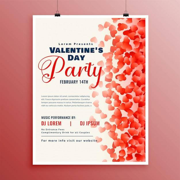 Flyer designvorlage für den valentinstag Kostenlosen Vektoren