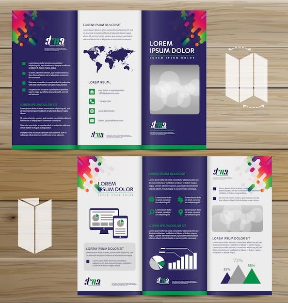 Flyer dreifach gefaltete broschüre broschürenvektordesignsatz Premium Vektoren