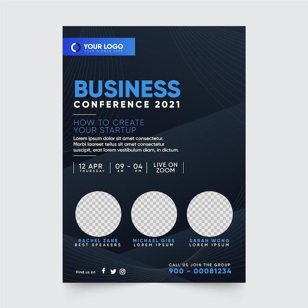 Flyer-druckvorlage für geschäftskonferenzen 2021 Kostenlosen Vektoren