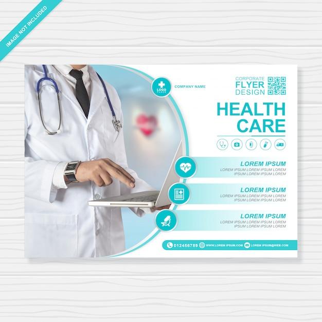 Flyer für das gesundheitswesen und das medizinische cover a4 für den druck Premium Vektoren