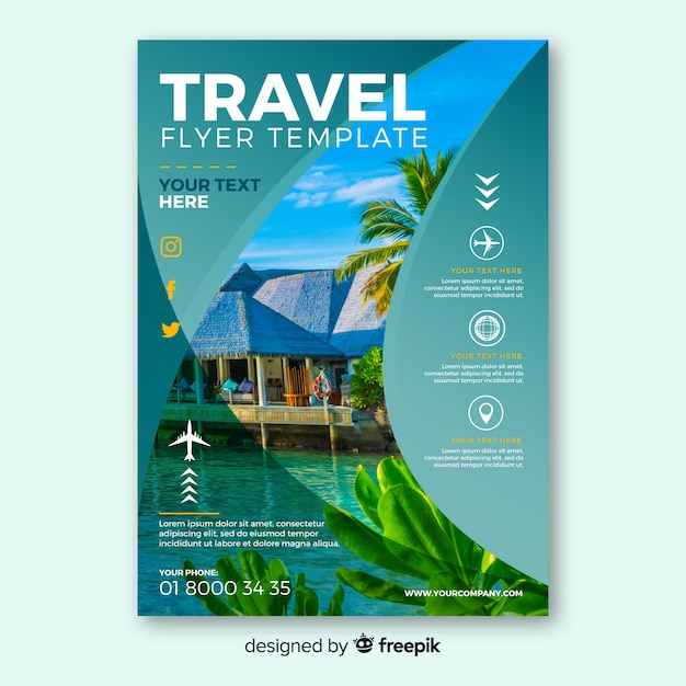 Flyer für fotografische reisen Kostenlosen Vektoren