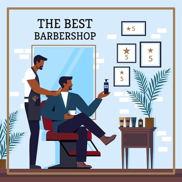 Flyer inschrift der beste barbershop cartoon. Premium Vektoren