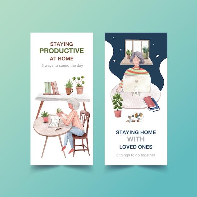 Flyer oder broschürendesign bleiben zu hause konzept mit menschen, die mit laptop aquarellillustration arbeiten Kostenlosen Vektoren