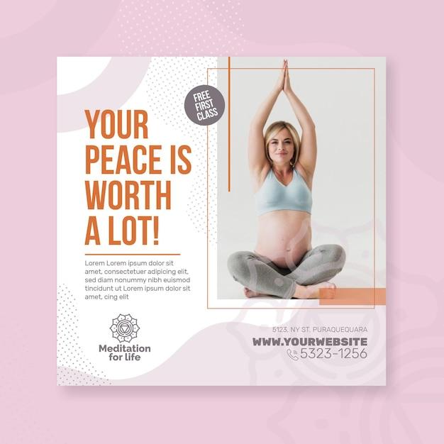 Flyer platz für meditation und achtsamkeit Premium Vektoren