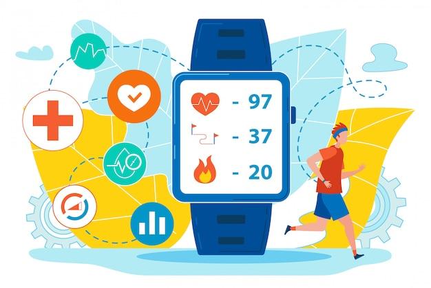 Flyer smart watch mit flachen gesundheitsindikatoren. Premium Vektoren