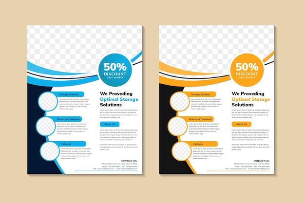 Flyer template design mit vertikalem layout. kombination aus blauen, orangefarbenen und schwarzen elementen. Premium Vektoren