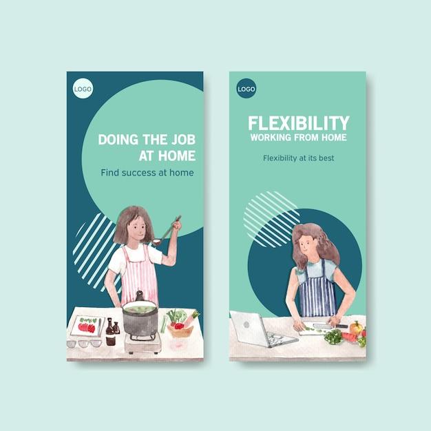 Flyer und broschürenschablonendesign mit menschen arbeiten von zu hause in der küche. home-office-konzept aquarell vektor-illustration Kostenlosen Vektoren