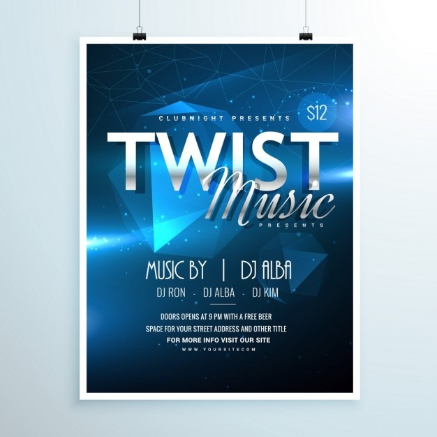 Flyer Vorlage Einladung Abstrakte Musik Party In Der Abstrakten Blauen  Hintergrund Kostenlose Vektoren