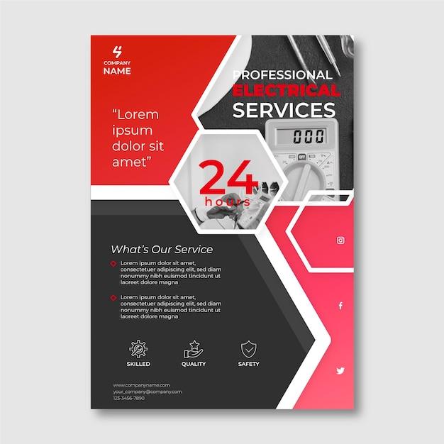 Flyer-vorlage für elektrische dienstleistungen mit foto Kostenlosen Vektoren