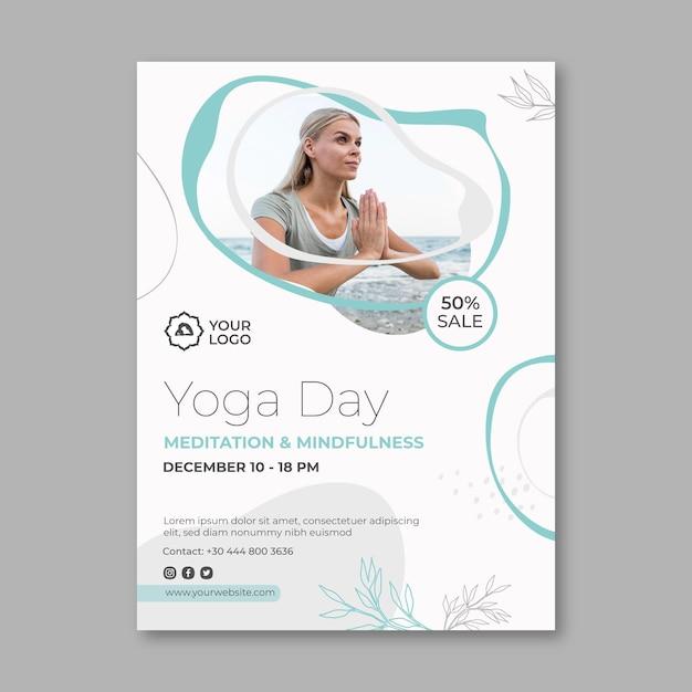 Flyer vorlage für meditation und achtsamkeit Premium Vektoren