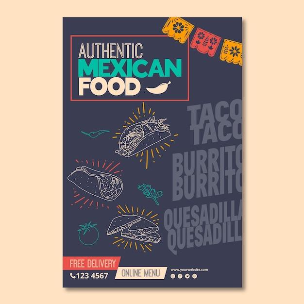 Flyer vorlage für mexikanisches essen restaurant Premium Vektoren