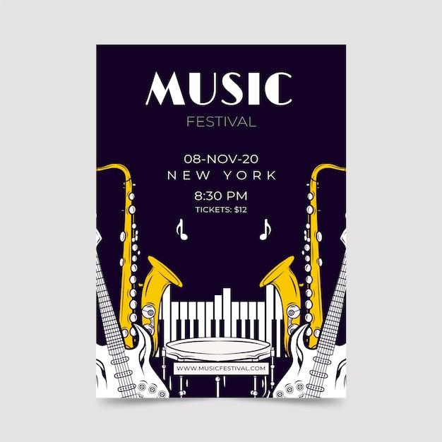 Flyer-vorlage für musikfestivals Kostenlosen Vektoren