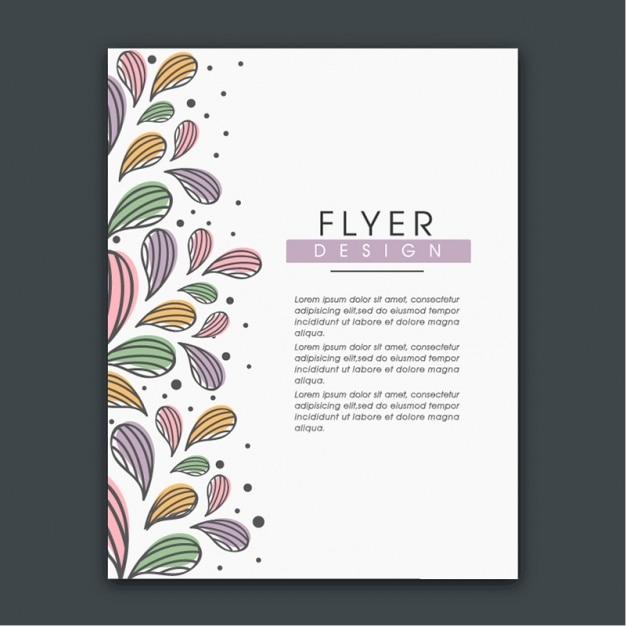 Flyer Vorlage mit abstrakten Blumenblätter in verschiedenen Farben ...