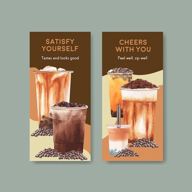 Flyer vorlage mit bubble milk tee Kostenlosen Vektoren