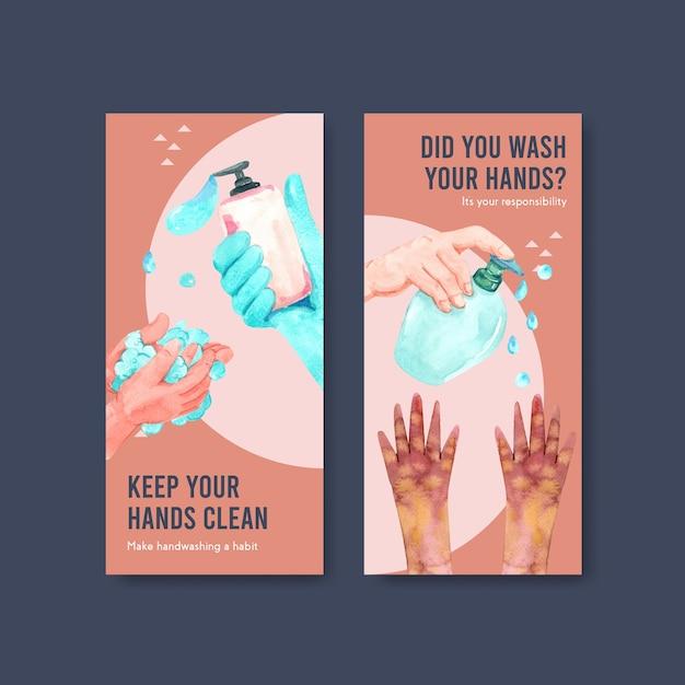 Flyer-vorlage mit globalem handwaschtag-konzeptdesign Kostenlosen Vektoren