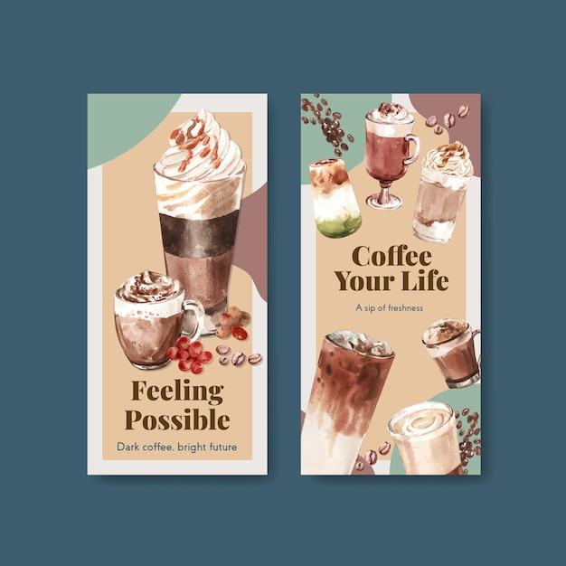 Flyer-vorlage mit koreanischem kaffeestilkonzept für broschüren- und flugblattaquarell Kostenlosen Vektoren