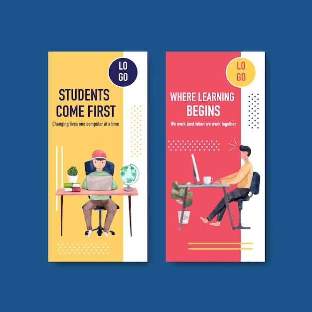 Flyer vorlage mit online-bildung design, broschüre und werbung aquarell Kostenlosen Vektoren