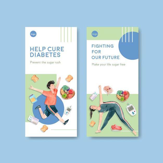 Flyer vorlage mit weltdiabetestag für broschüre und faltblattaquarell Kostenlosen Vektoren