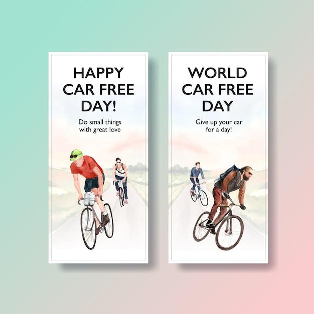 Flyer vorlage mit world car free day konzeptdesign Kostenlosen Vektoren