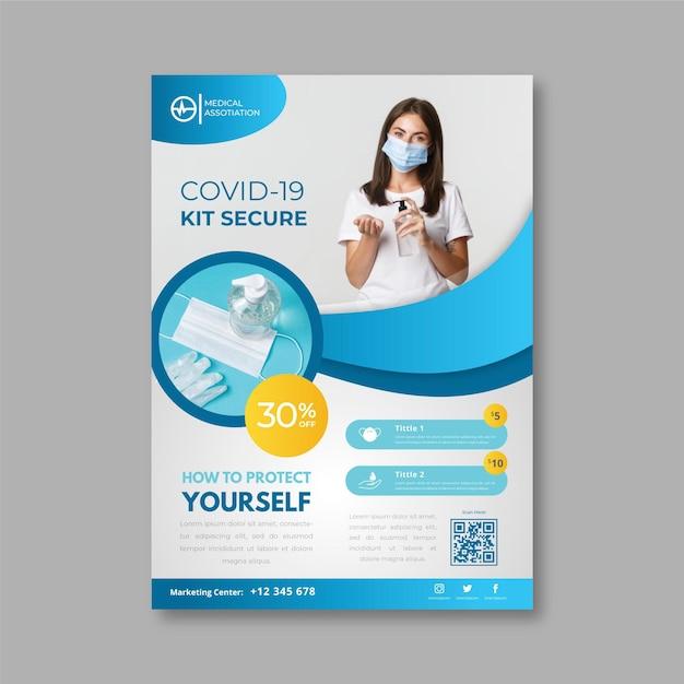 Flyer zu coronavirus-medizinprodukten Kostenlosen Vektoren