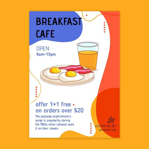 Flyer zum frühstücksrestaurant Kostenlosen Vektoren