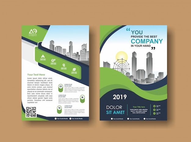 Flyer zum layout der broschüre für veranstaltungen und berichte Premium Vektoren