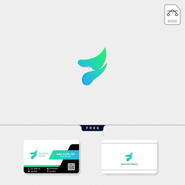 Flying bird logo und erhalten eine kostenlose visitenkarte Premium Vektoren