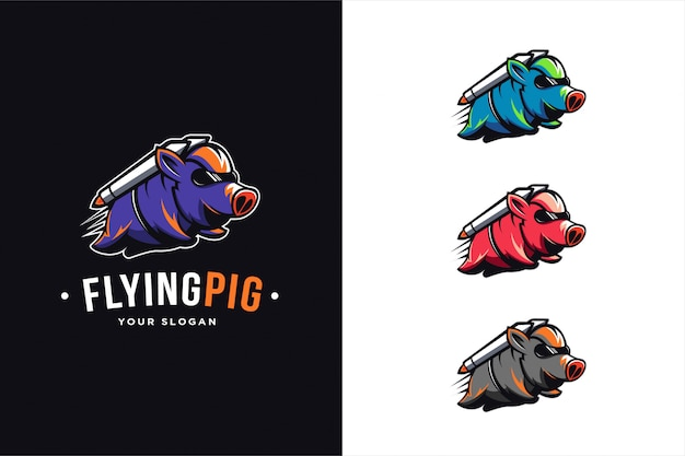 Flying pig logo gesetzt Premium Vektoren