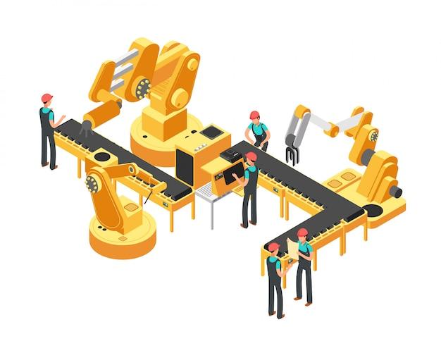 Fördererfertigungsstraße-automobilindustrie und isometrisches vektorkonzept der automatisierungssteuerung Premium Vektoren