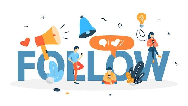 Folgen sie dem konzept. veröffentlichen sie inhalte in sozialen medien mit dem smartphone. gefällt mir und kommentiere. feedback bekommen. illustration Premium Vektoren