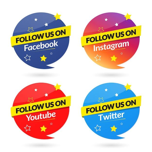 Folgen sie uns bei der sammlung von social media-bannern Premium Vektoren