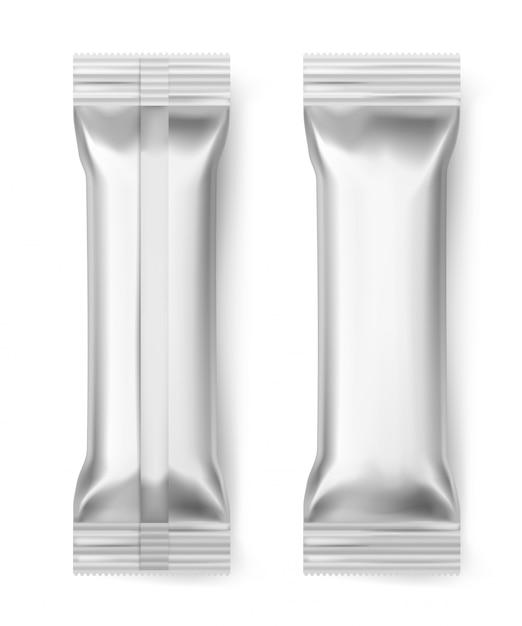 Folienstangenstäbchen. leere aluminium versiegelte packung wrapper praline keks snack dessert lebensmittelpaket, realistische 3d Premium Vektoren