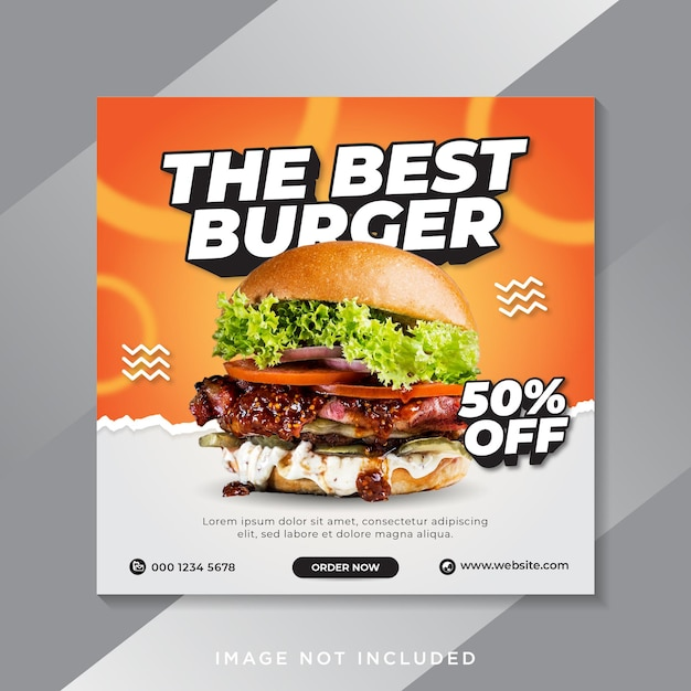Food burger social media instagram post banner vorlage Premium Vektoren