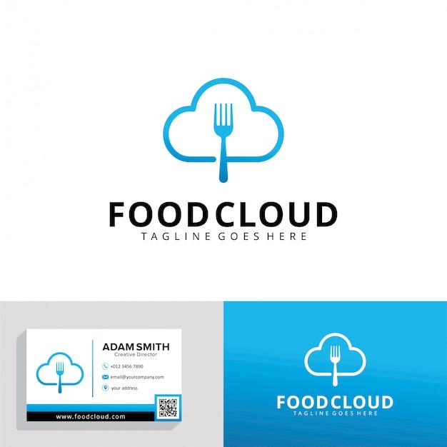 Food cloud-logo-vorlage Premium Vektoren